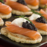 How to make smoked salmon blinis with creme fraiche and caviar
