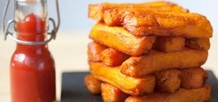 triple cooked chips made with delicious sweet potatoes are the